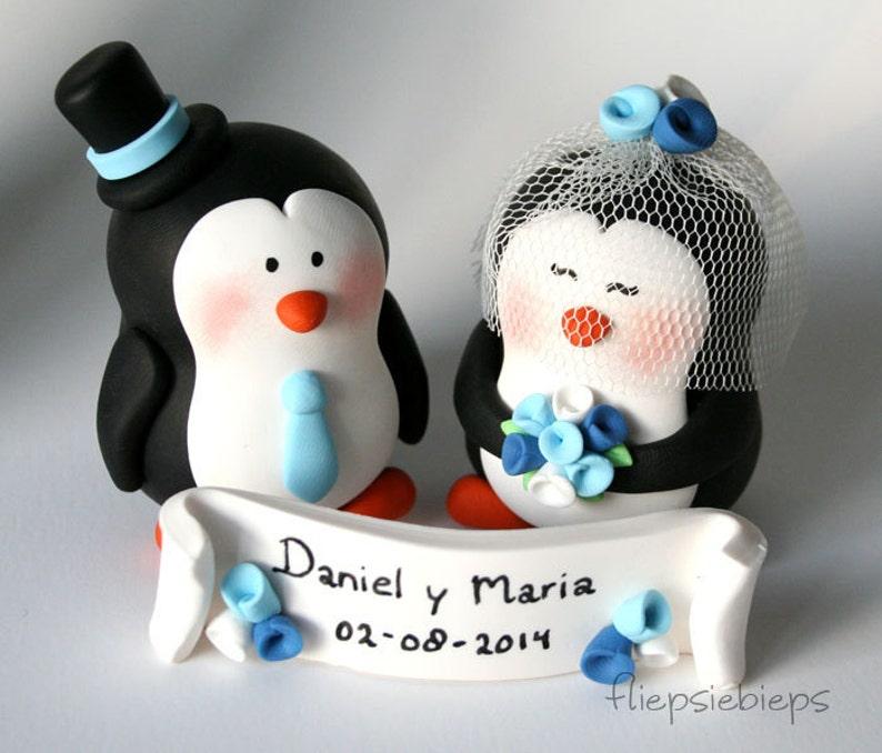 Customise Penguin Cake Topper Wedding image 0