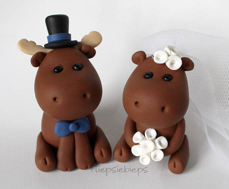Custom Moose Wedding Cake Topper image 0