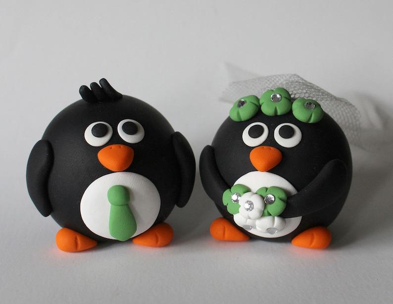 READY TO SHIP  Penguin Wedding Cake Topper image 0