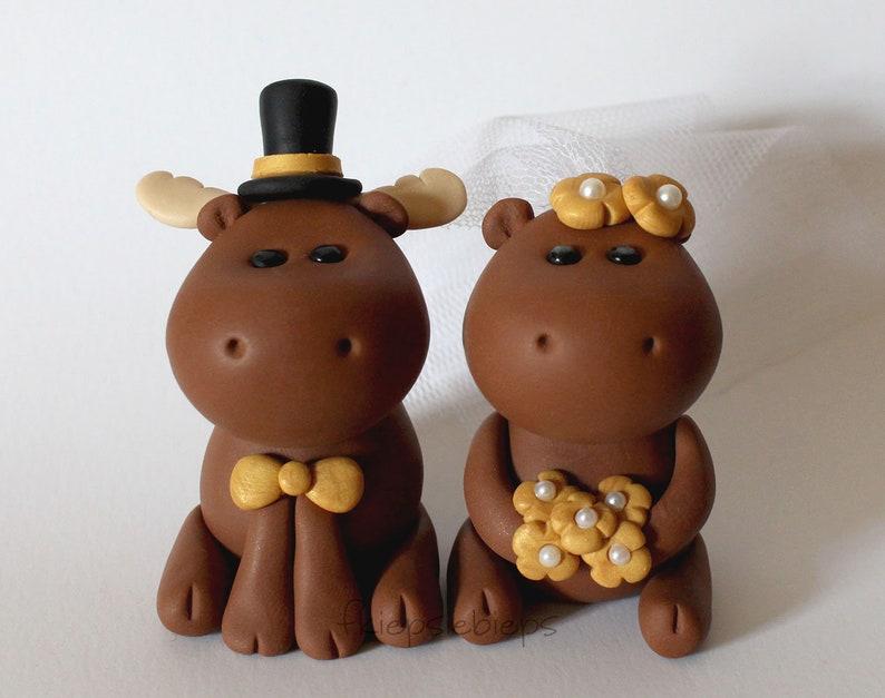 Custom Moose Wedding Cake Topper image 0