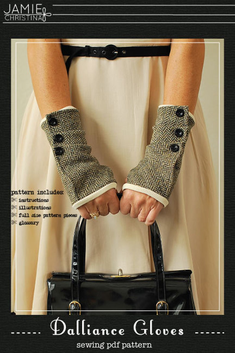 Dalliance Gloves sewing e-pattern  fingerless gloves sewing image 0
