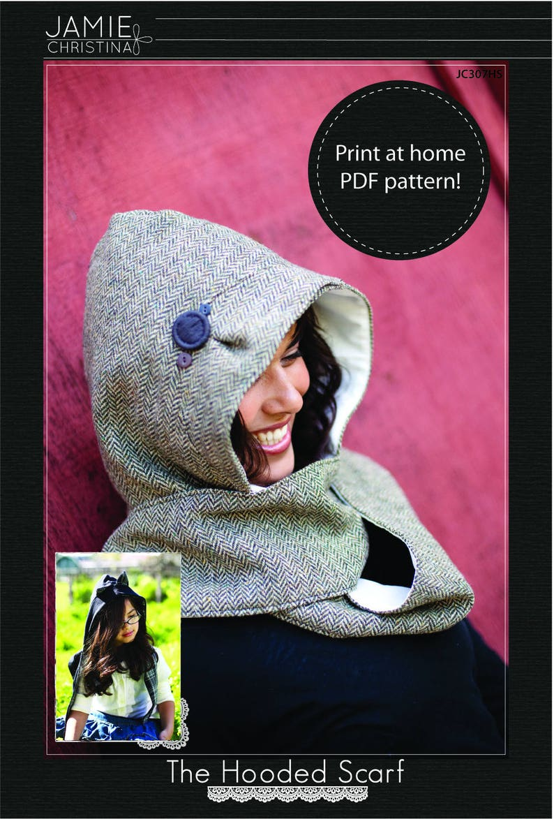 Hooded Scarf e-pattern pdf sewing pattern image 0