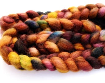 3.86 oz Superwash Blue Faced Leicester Combed Top, Roving, BFL spinning fiber, Wool Roving, Wool Top, Handdyed Top