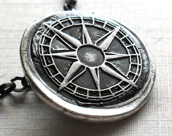 True North Compass Necklace - Made to Order in Fine Silver