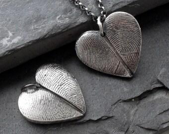 Heart Fingerprint Necklace with Two Fingerprints - Fine Silver