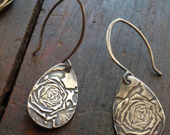 Forgotten Love Rose Raindrop Earrings Sterling Silver