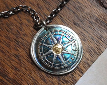 24K Gold Accent Compass and Paisley Fine Silver Necklace - My True North - Made to Order