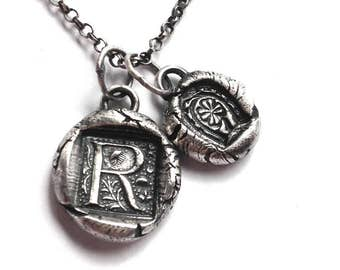 Rustic Wax Seal Initial and Lucky Charm Necklace - Fine and Sterling Silver Made to Order