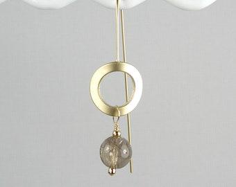 Golden Rutile Quartz Earrings - Neutral Modern earrings
