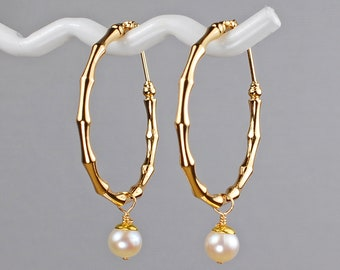 Gold Bamboo Hoop Earrings with White Freshwater Pearl Charm