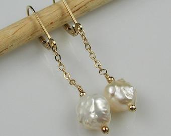 Baroque Pearl Earrings Gold White Rosebud  Pearl Dangle Earrings
