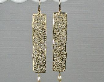 Gold Filigree Bar Dangle Earrings Gold Rectangle