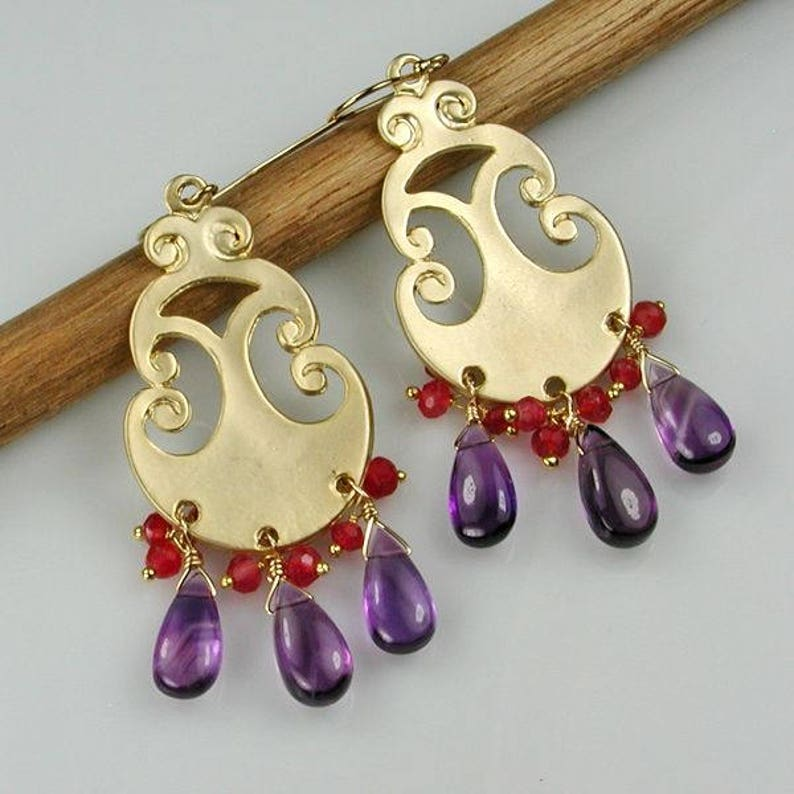 Amethyst Briolette and Aventurine Charms Gold Chandelier Earrings Purple and Red