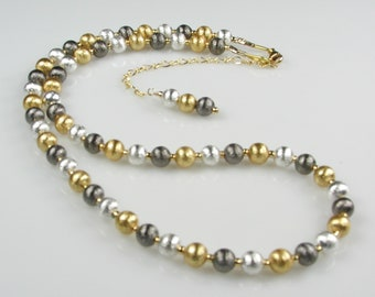 Mixed-Metals Gold Silver and Gunmetal Adjustable Necklace - Tri-Color