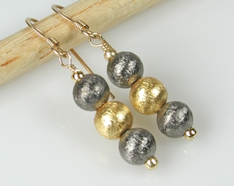 Mixed Metals Gold and Gunmetal Silver Dangle Earrings
