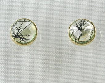 Rutilated Quartz and Gold Vermeil Studs - Black and Clear