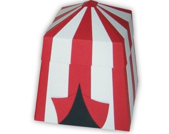 Carnival Circus Tent Favor Gift Box Printable Color Template Digital PDF (custom colors available)
