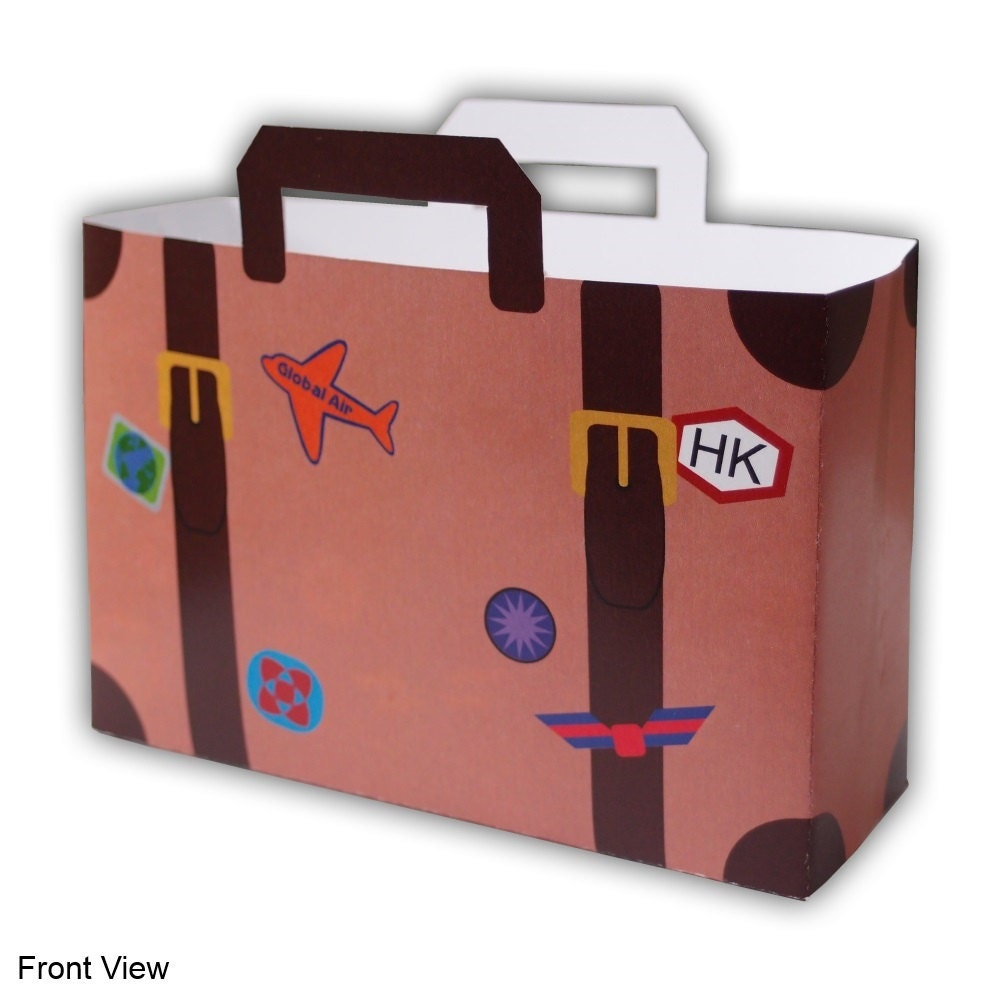 Small World Traveler Sticker Covered Suitcase Luggage Favor Etsy