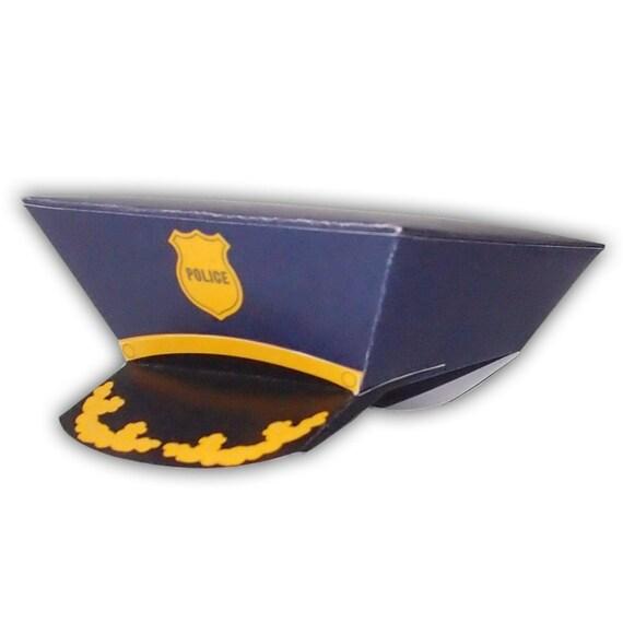 Police Officer Cop Hat Digital PDF Gift Box Favor Party Printable ...