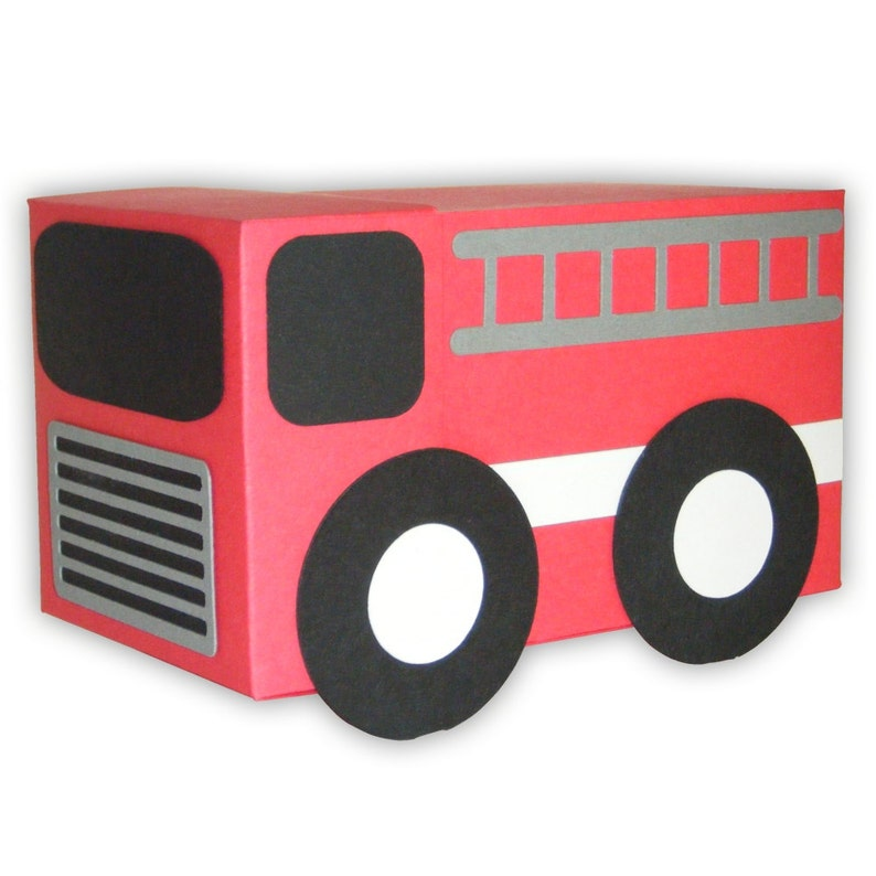 Fire Truck Gift Box Favor Printable Color Template Digital ...