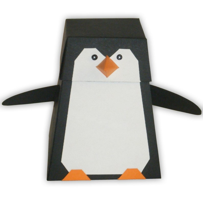 graphic relating to Penguin Template Printable called Penguin Electronic PDF Like Present Box Printable Shade Template (tailor made hues offered)