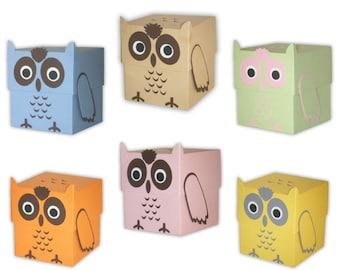 Owl Favor Gift Box Printable Color Template Digital PDF (custom colors available)