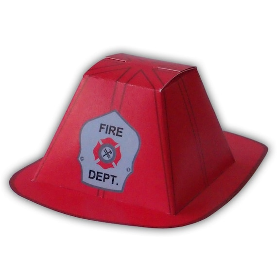 Firefighter helmet gift box favor party printable color etsy image 0 maxwellsz