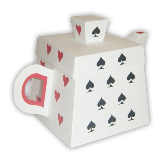 Alice In Wonderland Playing Cards Inspired Teapot Favor Box Printable Color Template Digital Pdf Custom Colors Available
