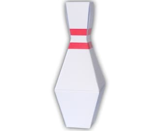 Bowling Pin Favor Gift Box Party Printable Color Template Digital PDF