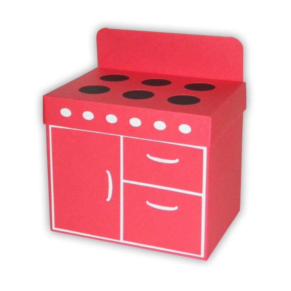 Retro Oven Favor Gift Box Printable Color Template Digital