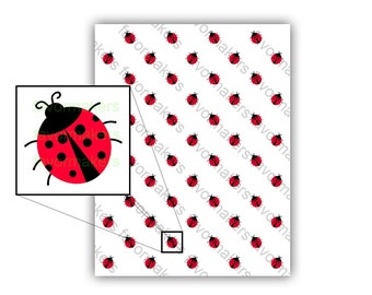 Ladybug Patterned Paper for Scrapbooking and Gift Wrapping Printable Color Digital PDF (custom colors available)