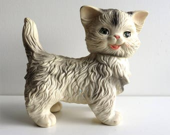 "Vintage Squeaky Toy, 1960s Edward Mobley Squeak Cat, Large 9"", Blinking Sleepy Eyes, Arrow Rubber Squeaker Doll, Mittens the Fluffy Kitten"