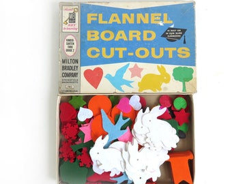 180+ Vintage Felt Shapes, 1960s Flannel Board Cut Outs by Milton Bradley Company, Childrens Toy, 60s Kids Craft, Teaching Tool, Large Lot