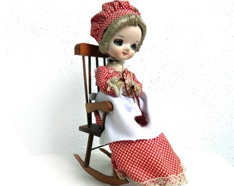 Vintage Pose Doll, Knitting on Wood rocking chair, Bradley Type Big Eyed Cloth Doll