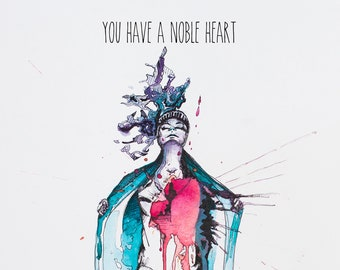 Noble Heart: print with text