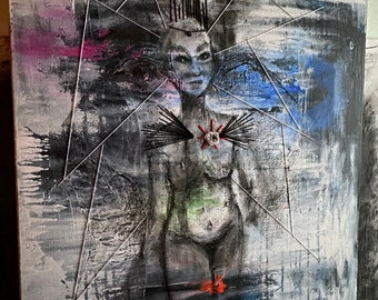 Nyx: acrylic, charcoal and thread painting