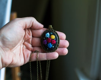 Ready made Spider Spells: fiber art, embroidery, pendant, spellwork