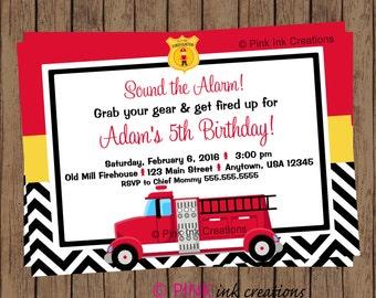 FIRETRUCK Birthday Invitation / Firefighter Birthday Invitation / Firetruck Birthday / Fireman Birthday / Fireman Invitation / Printable