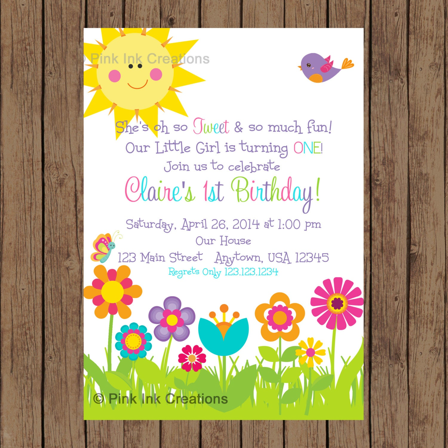 GARDEN Party Invitation Garden Birthday Spring