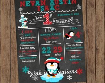 PENGUIN Birthday Chalkboard  / Penguin Chalkboard / Birthday Chalkboard Sign / Penguin Birthday Party / Milestone Birthday Chalkboard