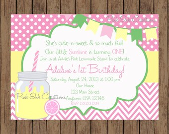 Pink Lemonade Birthday Invitation / Lemonade Birthday Invitation / Pink Lemonade Party / Pink Lemonade Shower / PRINTABLE / U Print
