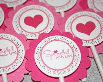 Sprinkled with Love Cupcake Toppers / Sprinkled Cupcake Toppers / Sprinkled Toppers / Sprinkled with Love Baby Shower / Sprinkle Baby Shower