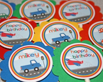 ON the GO Cupcake Toppers / On the Move Cupcake Toppers / Transportation Cupcake Toppers / On the Go Birthday / On the Move Birthday