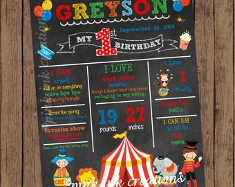 CIRCUS Chalkboard Birthday Sign / Circus Chalkboard / Birthday Chalkboard Sign / Chalkboard Birthday Poster /Birthday Stats Poster/PRINTABLE