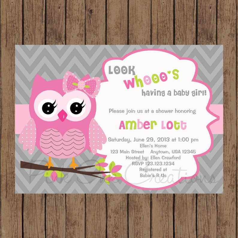 Owl Birthday Invitation Baby Shower Pink