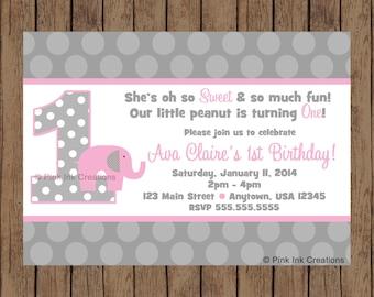 Pink Elephant Birthday Invitation / Pink Elephant Baby Shower Invitation / Pink Elephant Baby Shower / Elephant Birthday Party / Elephant