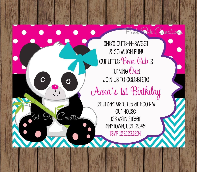 Panda Bear Birthday Invitation / Panda Invitation / Panda Baby | Etsy
