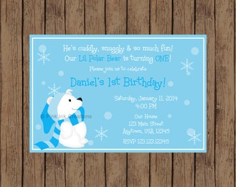 POLAR BEAR Birthday Invitation / Polar Bear Invitation / Polar Bear Party Decor / Winter ONEderland Birthday / Polar Bear Birthday Party