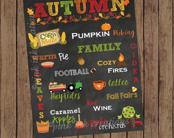 AUTUMN Chalkboard Sign  / Fall Favorites Chalkboard / Fall Favorites Sign / Autumn Favorites Sign / Autumn Home Decor / Fall Home Decor
