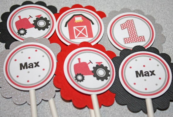 RED TRACTOR Cupcake Toppers Tractor